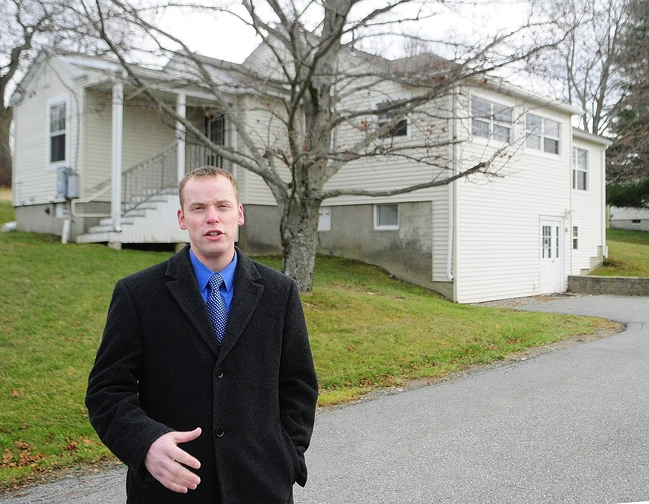 Housing proposal: Rep. Corey Wilson, R-Augusta, talks on Tuesday on Arsenal Heights in Augusta about plans to turn four former group homes into shelters for homeless veterans. The four houses on the former Augusta Mental Health Institute campus are near the Kennebec Arsenal on the east side of Augusta.