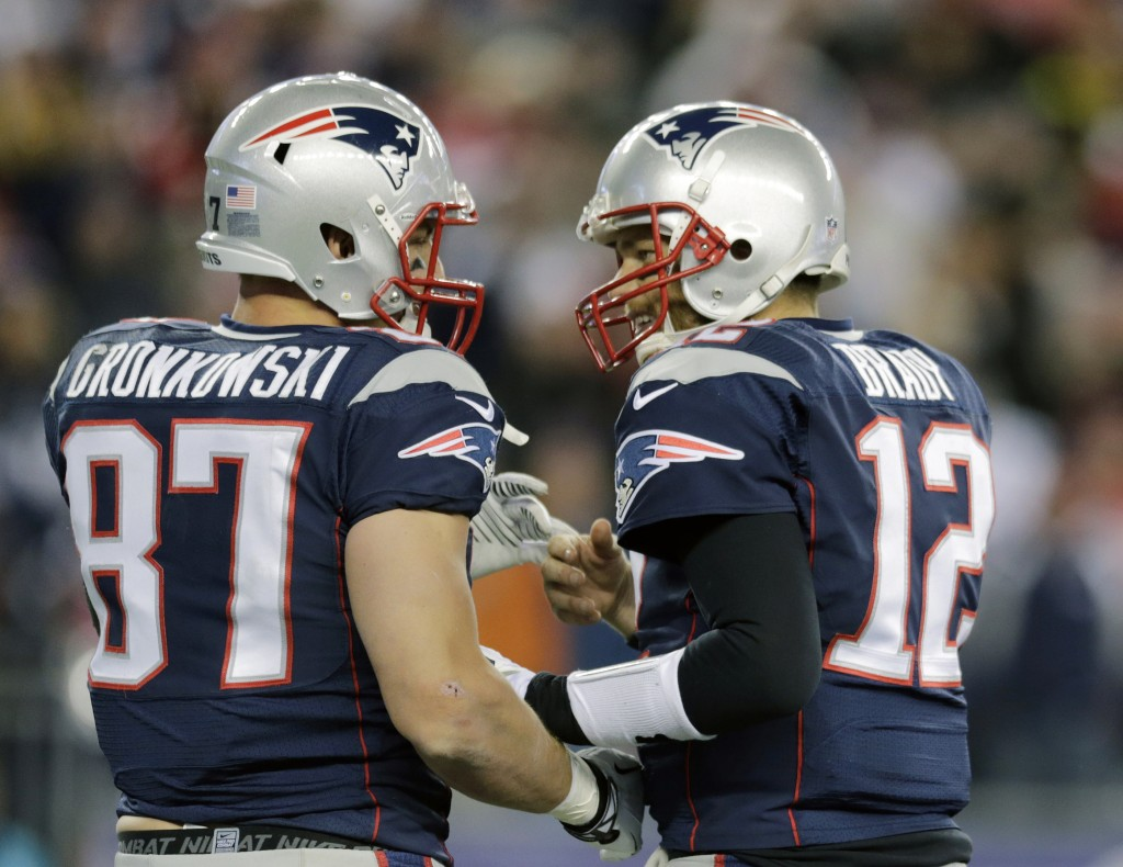 AP photo WELCOME BACK: Since the return of tight end Rob Gronkowski, left, Tom Brady and the NEw England Patriots have been much more effective offensively.