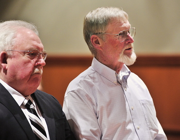 "Merrill ""Mike"" Kimball of Yarmouth appears with his attorney, Daniel Lilley, left, Thursday as he pleads not guilty to the murder of Leon Kelley of Georgetown."