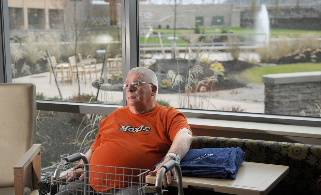 New digs: MaineGeneral rehabilitation patient Tom King, of Shawmut, said on Sunday that the previous day's move to the new hospital in Augusta was flawless. His private room has a view of the courtyard.