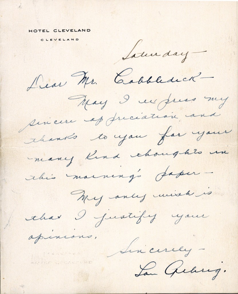 This image provided by the Baseball Hall of Fame shows a letter written by Lou Gehrig on Hotel Cleveland stationary to sportswriter Gordon Cobbledick.