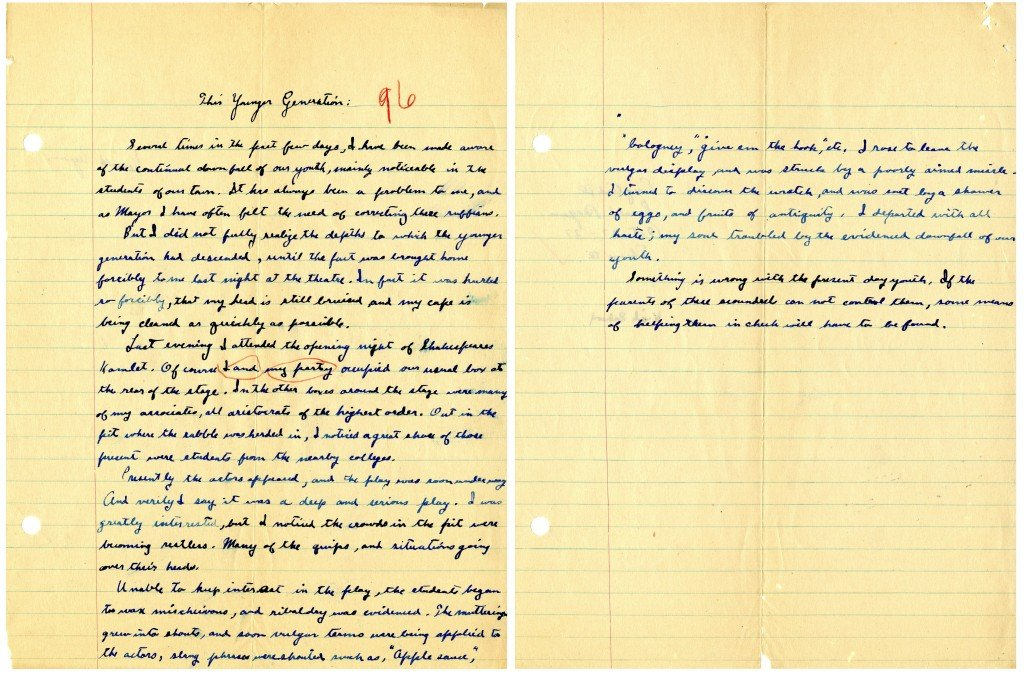 "This image provided by the Ronald Reagan Presidential Library shows a two-page essay written by Ronald Reagan titled ""This Younger Generation"" written on Oct. 27, 1927, during his senior year in high school."