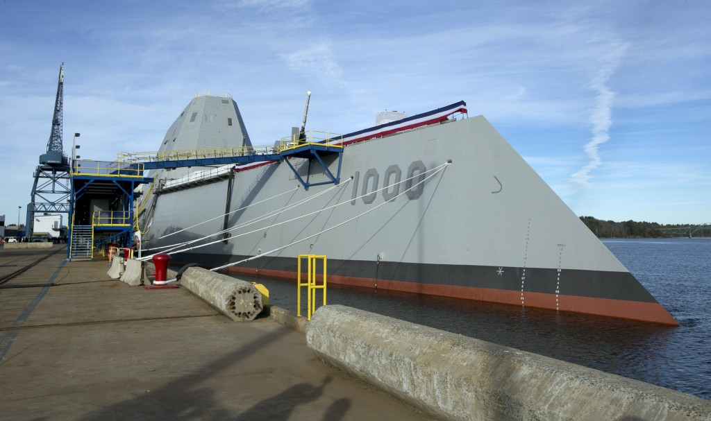 The Navy's Zumwalt stealth destroyer is moored at Bath Iron Works, in Bath. The skipper of the technology-laden Zumwalt is Capt. James Kirk, and his futuristic-looking vessel sports cutting-edge technology, new propulsion and powerful armaments.
