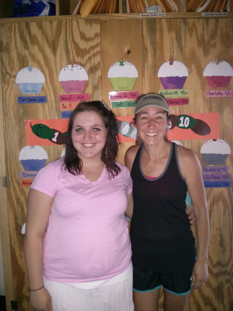 Helping: Sarah Kinney, left, with Christie Roy, the director of the Alfond Youth Center summer program where Kinney worked.