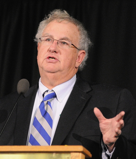 Focus on tax policy: Charles Colgan speaks during the 17th annual Maine Tax Forum on Wednesday at the Augusta Civic Center.