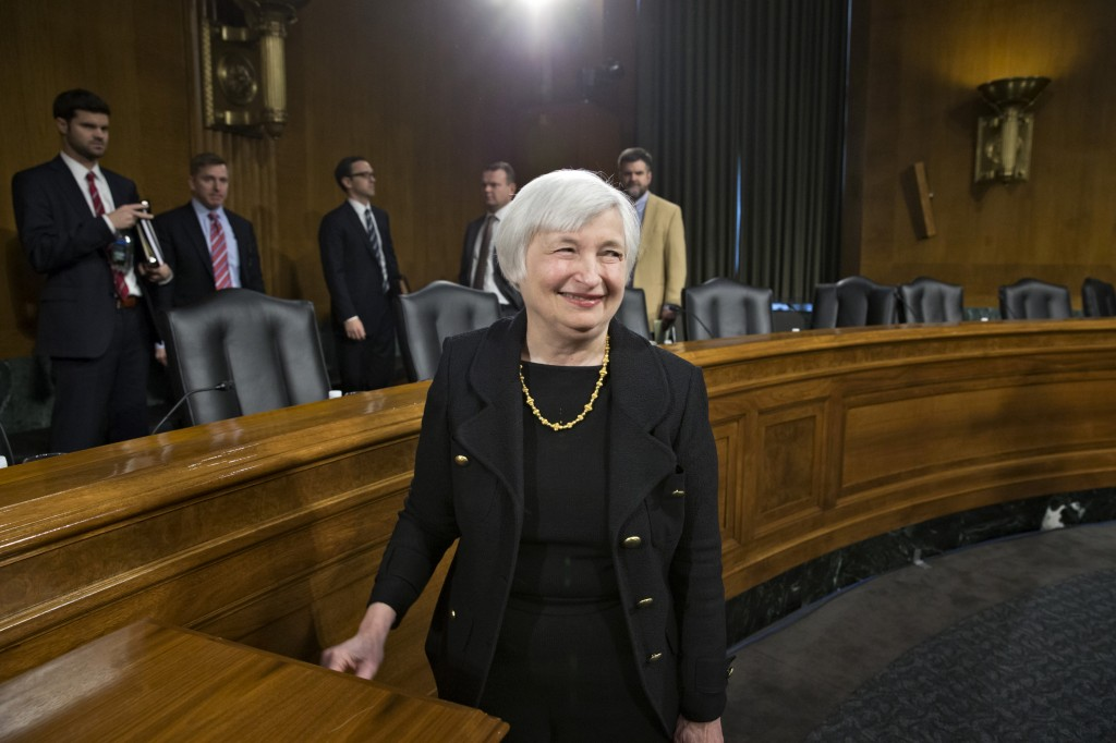 Fed chairman nominee Janet Yellen leaves her confirmation hearing Thursday after testifying before the Senate Banking Committee.