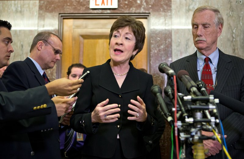 "Maine Sens. Susan Collins, a Republican, and Angus King, an independent, are among a group of senators known as the ""common sense"" coalition."