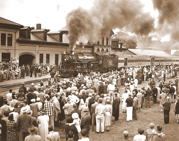 FILE PHOTO The 470 steam locomotive makes it way to the old College Avenue crossing during its last run in front of 2,000 spectators on Sunday June 13, 1954 in Waterville.