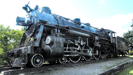 iron horse: The Old 470 steam locomotive in Waterville.