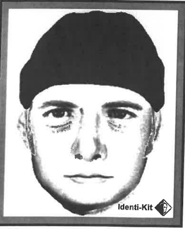 A sketch of the suspect provided by the Biddeford Police Department.