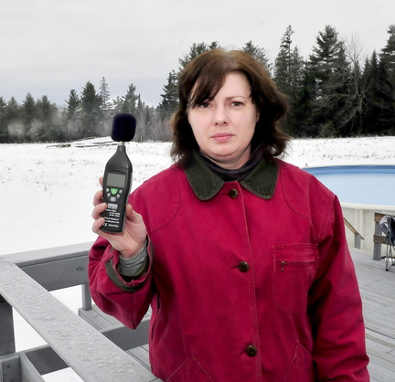 MAKING NOISE: Cherry Strohman says the buzz from a Central Maine Power Co. substation near her Benton home is waking her and neighbors. The area's residents are using town-provided sound meters to measure the noise.