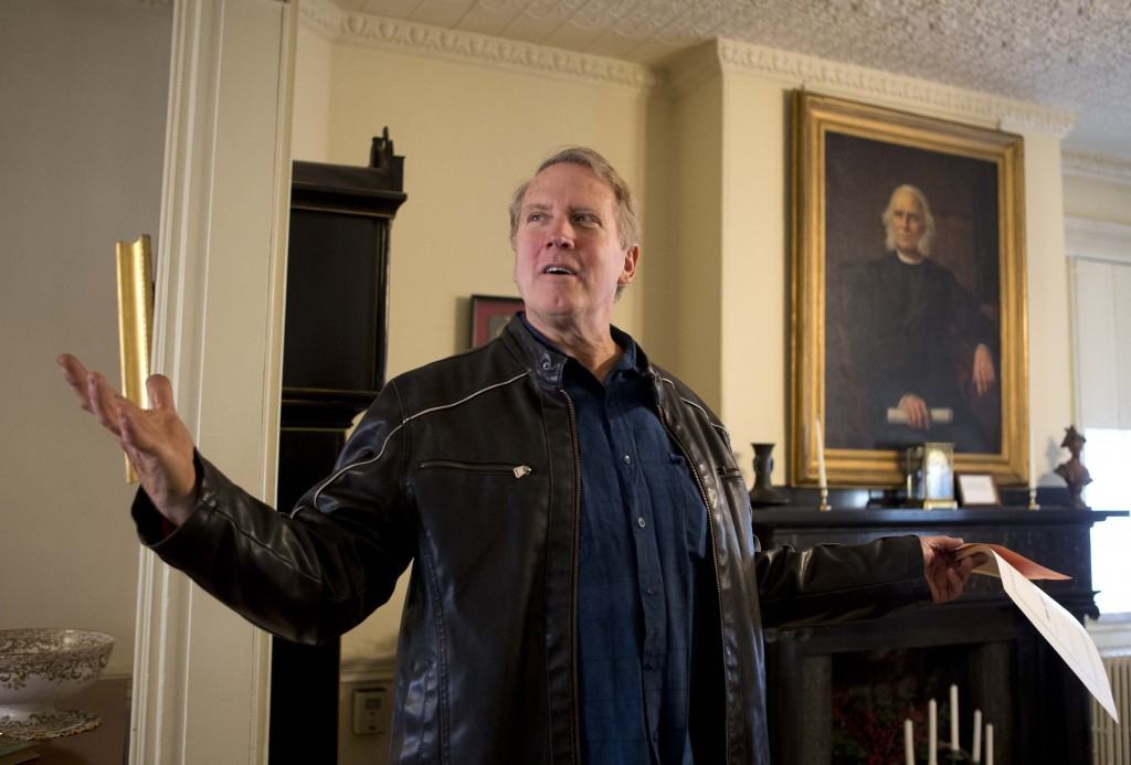 The Rev. David Perkins gives a tour of Neal Dow House in Portland, Maine headquarters of the Woman's Christian Temperance Union.