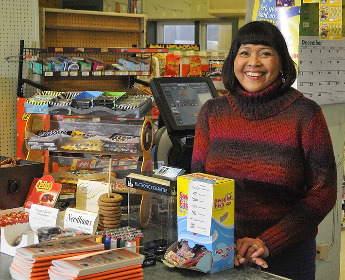 Getting help: Vicky Staszewski at Four Corners General Store on Thursday.