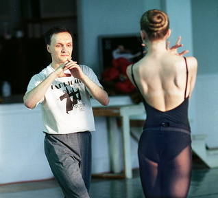 JUST SO: Andrei Bossov during rehearsal at the Maine Central Institute in Pittsfield in 1999.