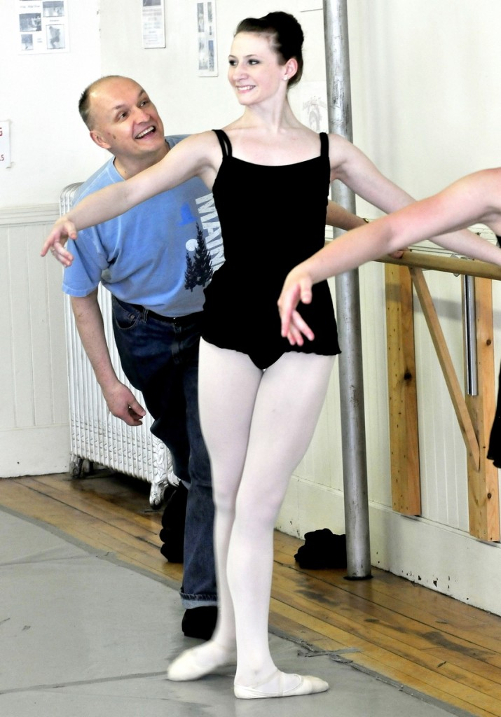 RISING STAR: Bossov Ballet Theatre Artistic Director Andrei Bossov shares a light moment with student Gabby Perkins in April 2013 during instruction at Maine Central Institute in Pittsfield. Perkins was one of 15 foreigners to be accepted for enrollment at the Vaganova Ballet Academy in Russia earlier this year.