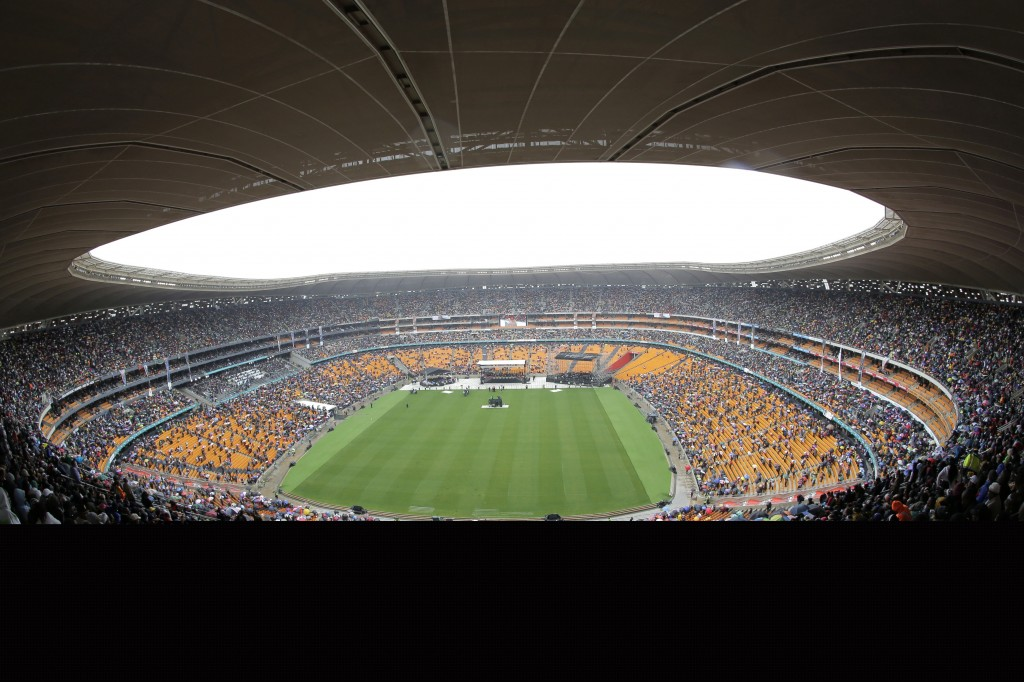 A view of the arena during the memorial service for former South African President Nelson Mandela at the FNB Stadium in Soweto, near Johannesburg.