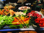 Vegetables help round out healthy options from the salad bar portion of the buffet.