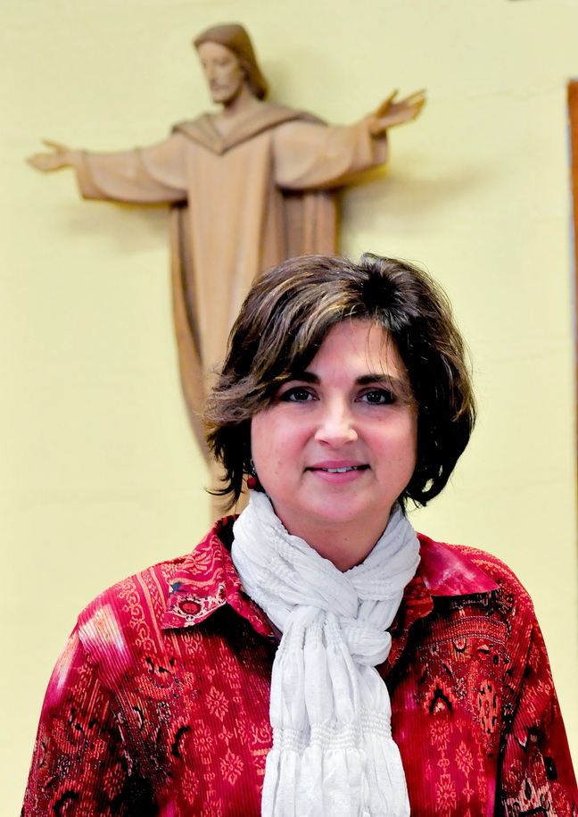 GOOD CHOICE: Vicki Duguay, assistant principal at Mount Merici Academy in Waterville, spoke Wednesday about the choice of Pope Francis as the Time magazine Person of the Year.