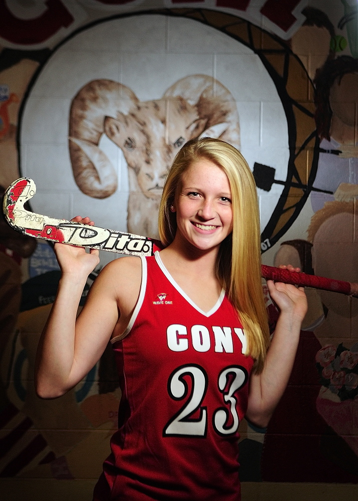 Staff photo by Joe Phelan 2013 Kennebec Journal Field Hockey Player of the Year Arika Brochu poses for a photo in front of Ramses mural on Friday December 6, 2013 at Cony High School in Augusta.