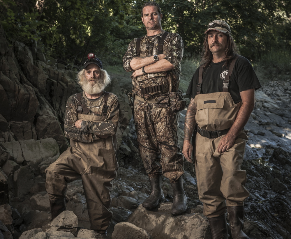 The Maineiacs, from Scarborough, will compete for eels on Animal Planet. Team members, from left, are Lee Leavitt and his son Jason Leavitt, and Jason's brother-in-law Mike Bradley.