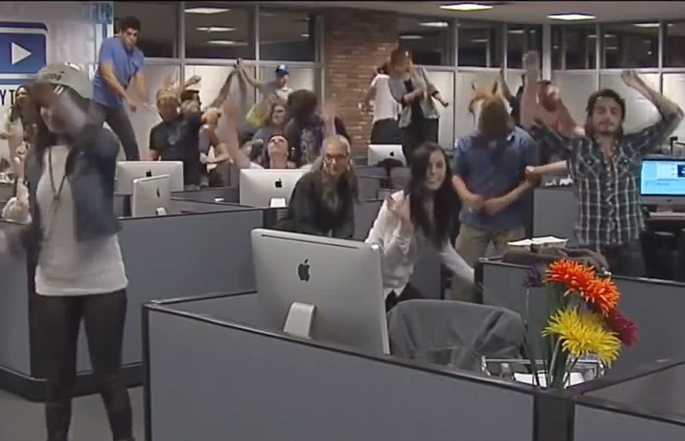 """Video frame of people dancing to the """"Harlem Shake,"""" a song that inspired a procession of amusing dance videos and ranked No. 5 on Google's list of the most-searched-for items of 2013."""