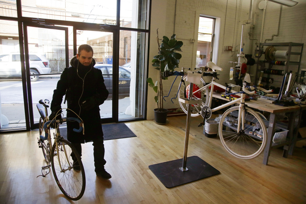 Assaf Biderman, co-inventor of the Copenhagen Wheel and Associate Director of the SENSEable City Laboratory at MIT, arrives at Superpedestrian, his venture-backed company in Cambridge, Mass. The Copenhagen Wheel is a human/electric hybrid bicycle engine built into a bicycle's back wheel.
