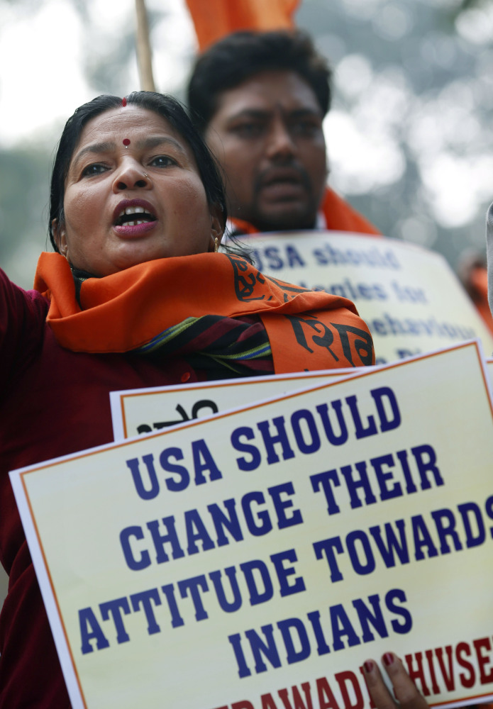 Protesters shout slogans near the U.S Embassy in New Delhi Wednesday in a demonstration against the alleged mistreatment of New York-based Indian diplomat Devyani Khobragade.