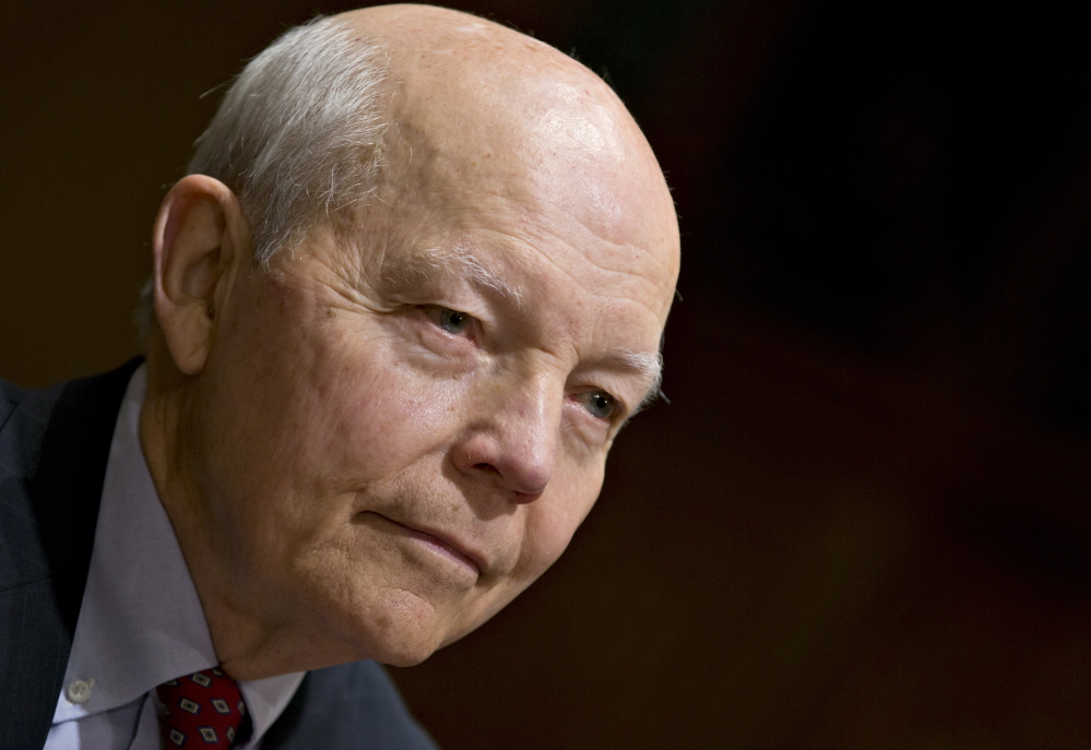 John Koskinen, President Obama's choice to head the Internal Revenue Service testifies on Capitol Hill on Dec. 10, 2013, before the Senate Finance Committee hearing on his nomination. Koskinen, 74, is a retired corporate and government official with experience managing numerous organizations in crisis.