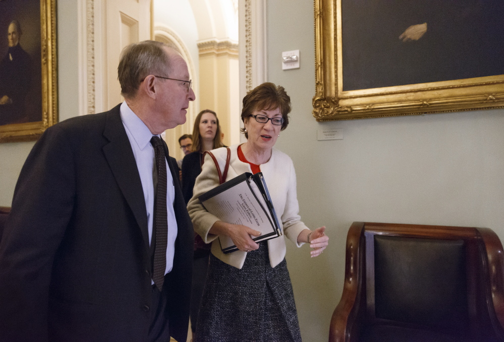 Sen. Susan Collins, R-Maine, talks with Sen. Lamar Alexander, R-Tenn., last week at the Capitol in Washington. Collins serves on a special committee on aging looking into concerns about long-term care.