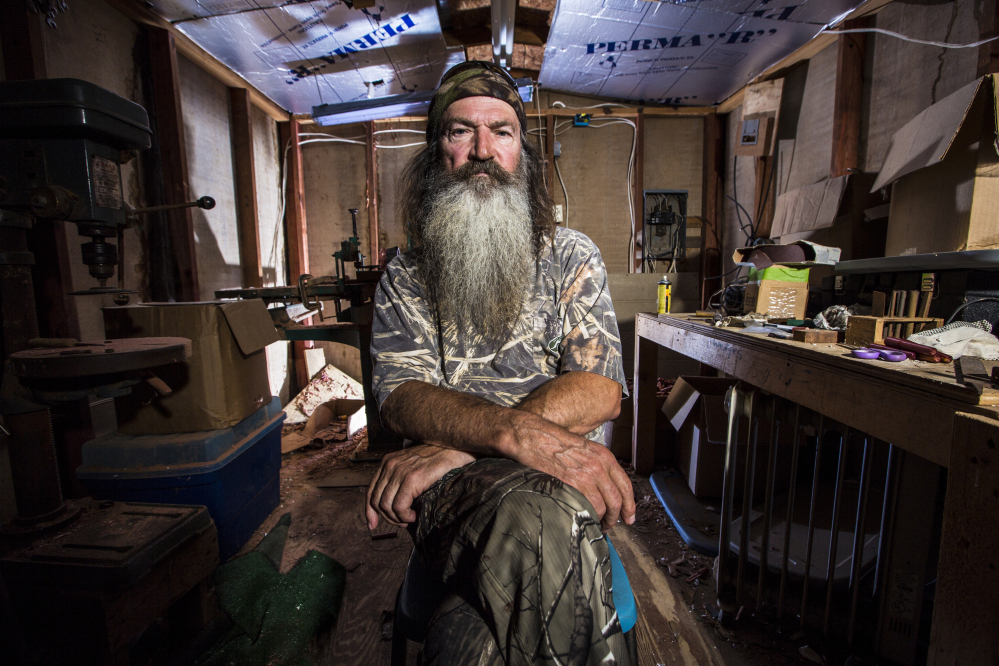 "Phil Robertson from the popular series ""Duck Dynasty."" Robertson was suspended last week for disparaging comments he made to GQ magazine about gay people."