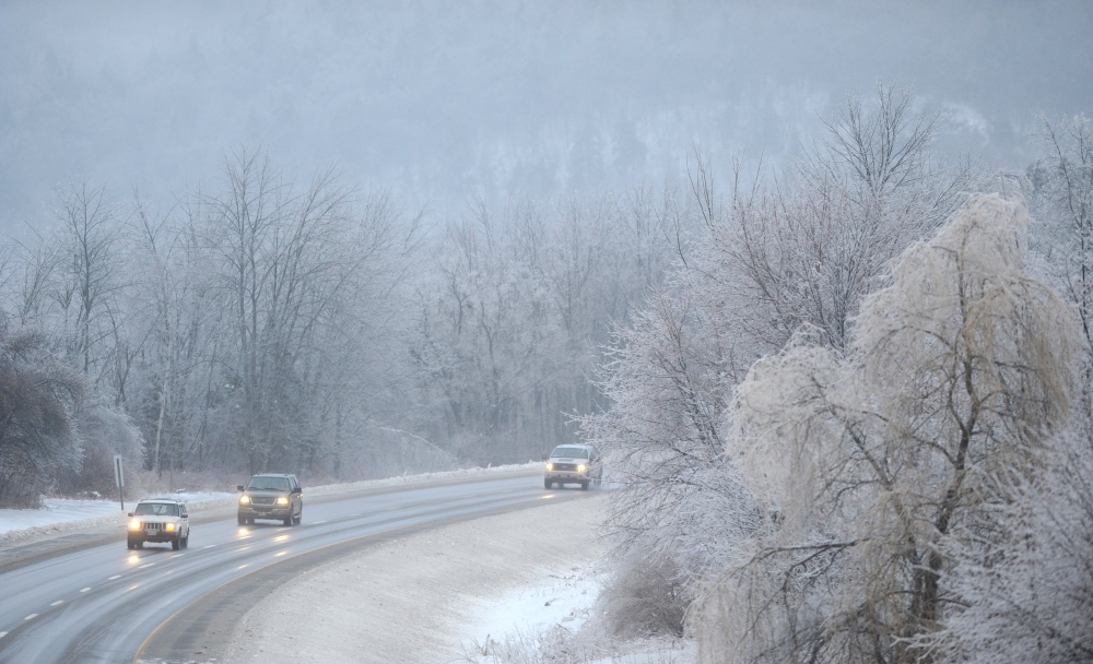ICY ROADS: Southbound traffic creeps down Interstate 95 in Waterville on Monday. The recent ice storm has made travel on the roads and by foot treacherous the last two days.