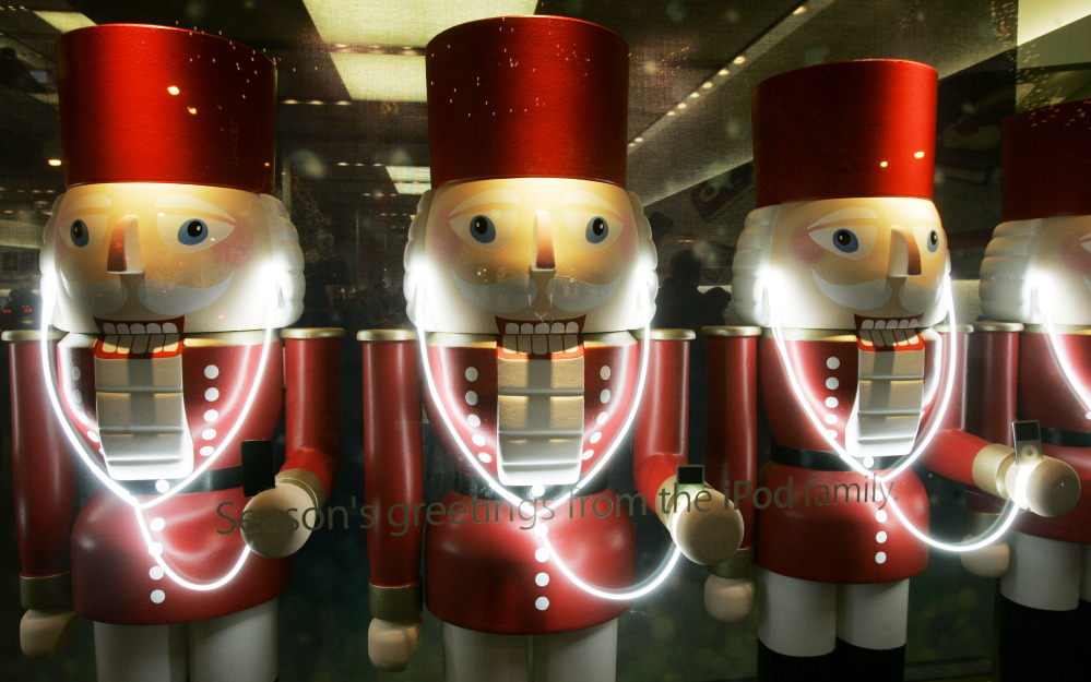 A display of nutcracker soldiers wear iPods at the Apple Store in Chicago.
