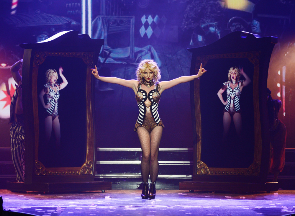 """Britney Spears rehearses """"Britney: Piece of Me"""" at Planet Hollywood Resort & Casino on Thursday in Las Vegas. Spears began her two-year Las Vegas casino residency Friday."""