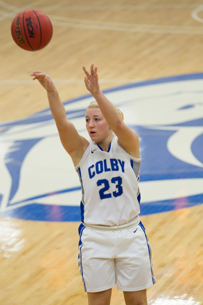 Carylanne Wolfington, of Colby College, during an NCAA Division III college basketball game against St. Joseph's at The Whitmore-Mitchell at Wadsworth Gymnasium, Thursday Dec. 5, 2013 in Waterville, ME. (Dustin Satloff/Colby College Athletics)