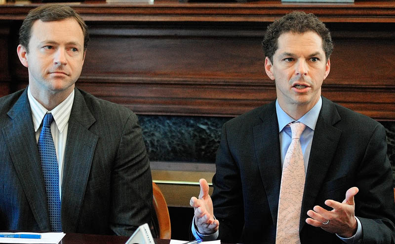 Senate President Justin Alfond, D-Portland, right, with Speaker of the House Mark Eves, D-North Berwick