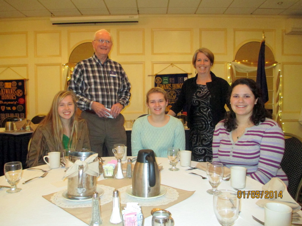 Members of the Hall-Dale Key Club described their experiences at a recent three-day Camp Calumet leadership training session in Ossipee, N.H., during a meeting of the Augusta Kiwanis Club on Thursday. Seated, from left, are Key Club members Nicole Pelletier, Annabelle Houghton and Sonja Jackson; and standing, from left, are Kiwanis Key Club advisor Jeff Chapman and Hall-Dale Key Club Faculty Advisor Lydia Leimbach.