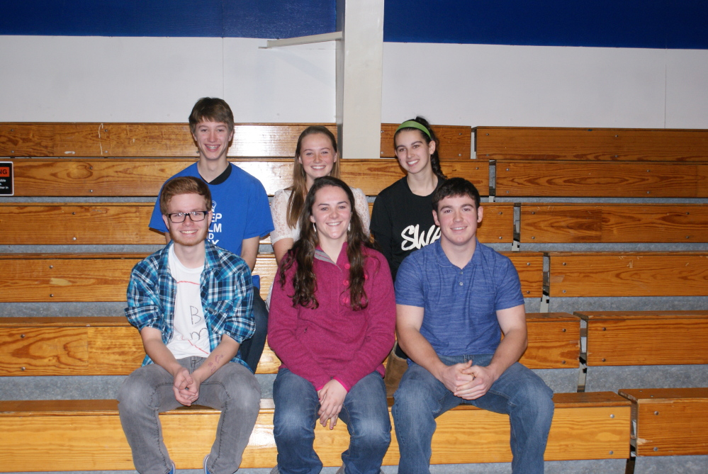 Senior of the Trimester recipients: In front, from left, is Dominic Pizzo, Abigail Glidden and Zachary Childs. In back, from left, is Richard Preston, Emma Wilkinson and Alexis Wright.