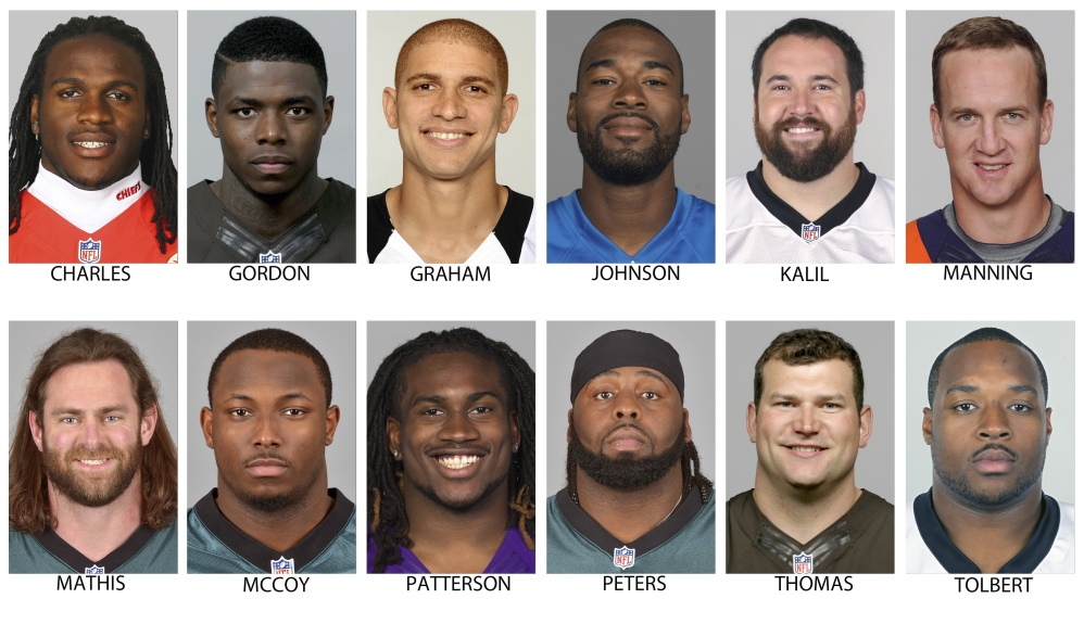Members of The Associated Press 2013 NFL All-Pro team offense: top row from left are Jamaal Charles, Kansas City; Josh Gordon, Cleveland; Jimmy Graham, New Orleans; Calvin Johnson, Detroit; Ryan Kalil, Carolina and Peyton Manning, Denver. Bottom row from left are Evan Mathis, Philadelphia; LeSean McCoy, Philadelphia; Cordarrelle Patterson, Minnesota; Jason Peters, Philadelphia; Joe Thomas, Cleveland and Mike Tolbert, Carolina.