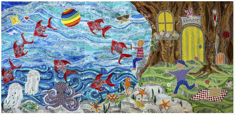 """Five glass mosaic panels make up the artwork """"Everyone's Tree House,"""" created by Cape Elizabeth artist Amanda Edwards for the Boston Children's Hospital's brand-new Mandell Building, which opens Monday. This panel is displayed on the first floor."""
