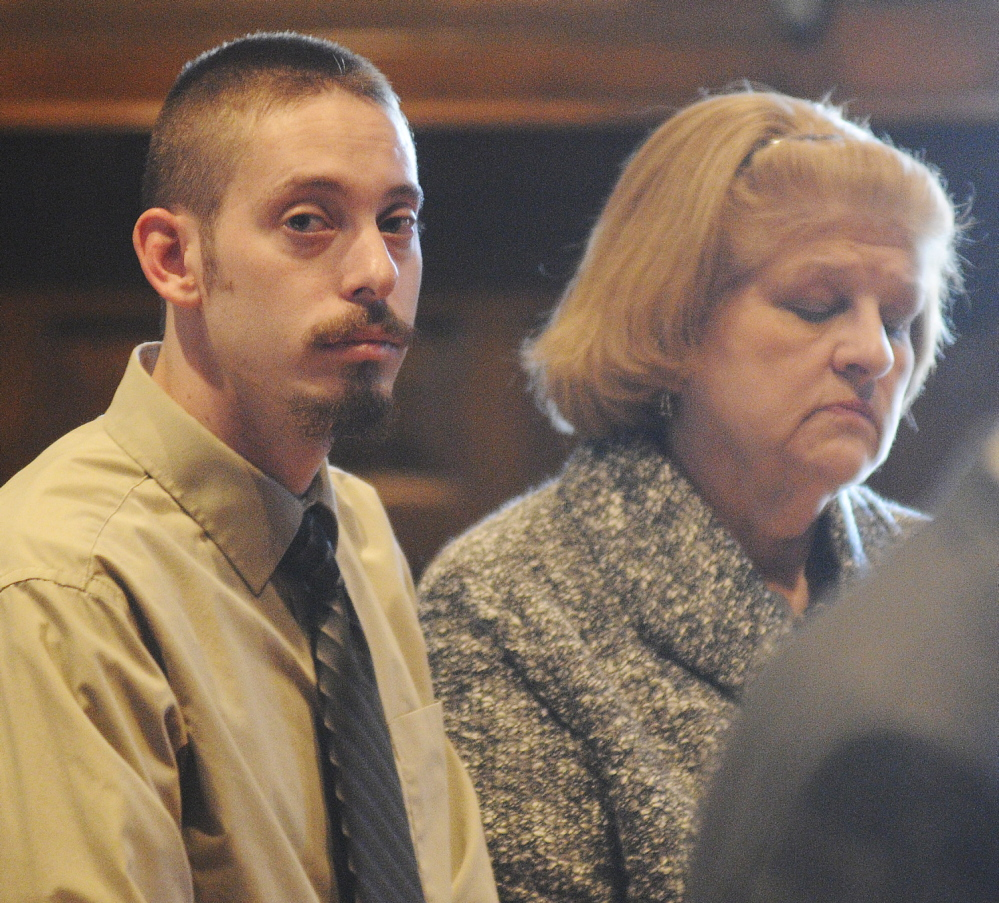 GUILTY: Joshua A. Erskine entered a guilty plea Wednesday at Kennebec County Superior Court in Augusta to driving while under the influence of drugs when he struck Ruth Epperson, 81, in a sidewalk along North Belfast Avenue in Augusta in March 2012. Erskine is tentatively scheduled to be sentenced in February for the death of Epperson. Erskine is represented by attorney Pamela Ames, right.