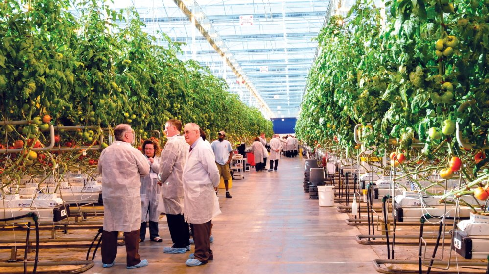 TOUR: State and local officials tour the reopened Backyard Farms in Madison on Wednesday.