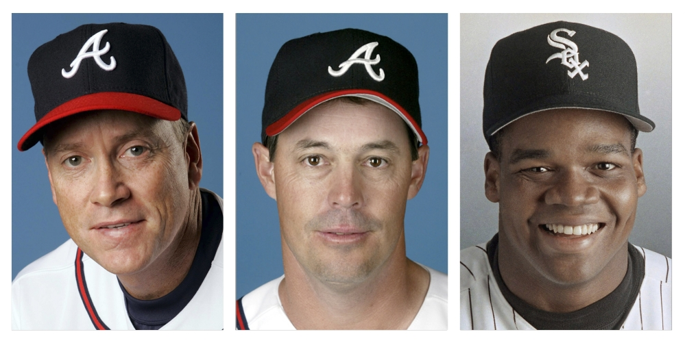 From left are Tom Glavine in 2008, Greg Maddux in 2008, and Frank Thomas in 1994 file photos. Glavine, Maddux and Thomas were selected to the Baseball Hall of Fame on Wednesday.