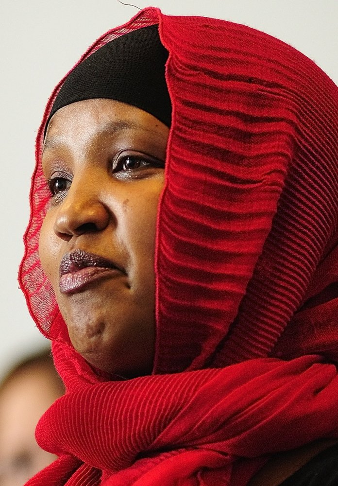 Fatuma Hussein of Somali Women of Maine at a hearing and news conference Friday in Augusta.