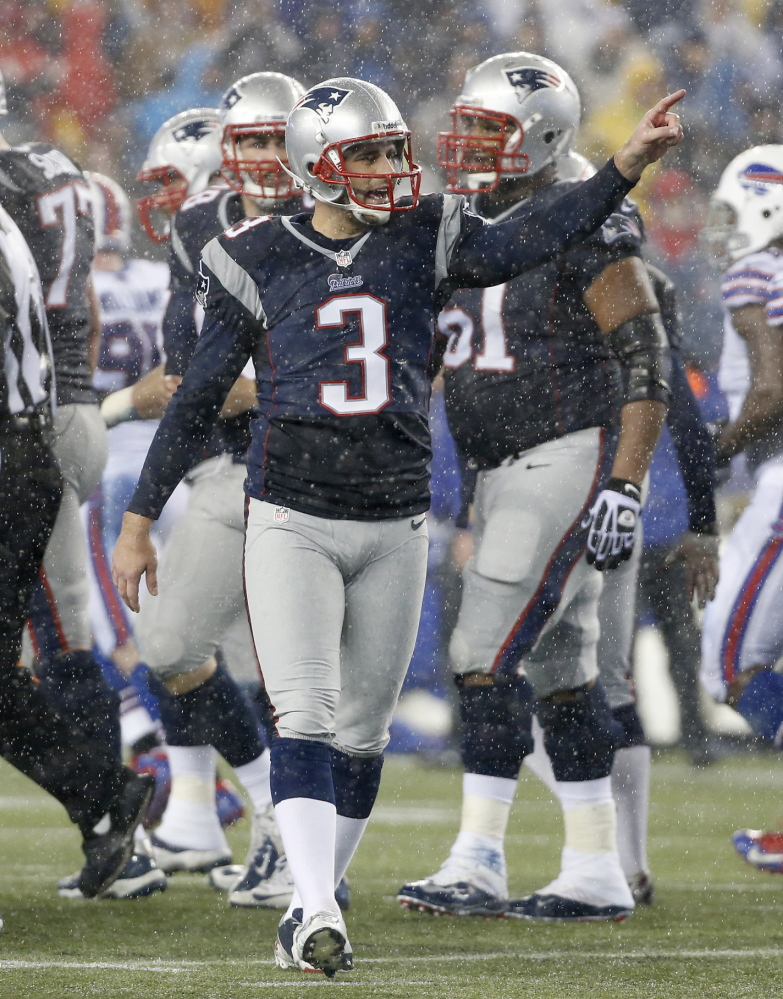 New England Patriots kicker Stephen Gostkowski (3) celebrates a field goal against the Buffalo Bills in the second quarter of an NFL football game Sunday, Dec. 29, 2013, in Foxborough, Mass. (AP Photo/Elise Amendola)