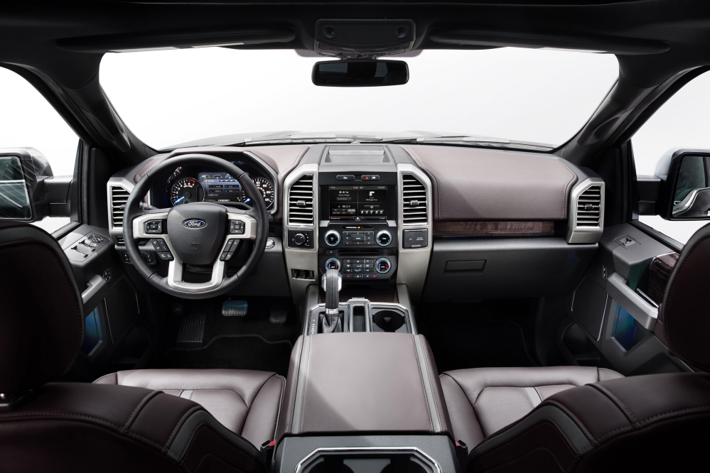 A view of the interior of the 2015 F-150 pickup truck.