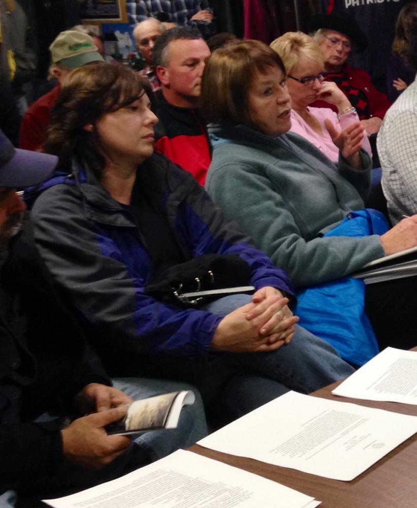 Cherry Strohman, front left, sits next to Leah Sprague, public utilities commission ombudsman at the Benton Selectboard meeting. Strohman is among a group of residents who have complained about a persistent buzzing sound coming from a Central Maine Power substation on Albion Road. Representatives from CMP were at the meeting to discuss the ongoing issue.