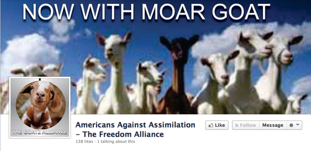 "A screen shot of the Facebook page for ""The Goatz Alliance."