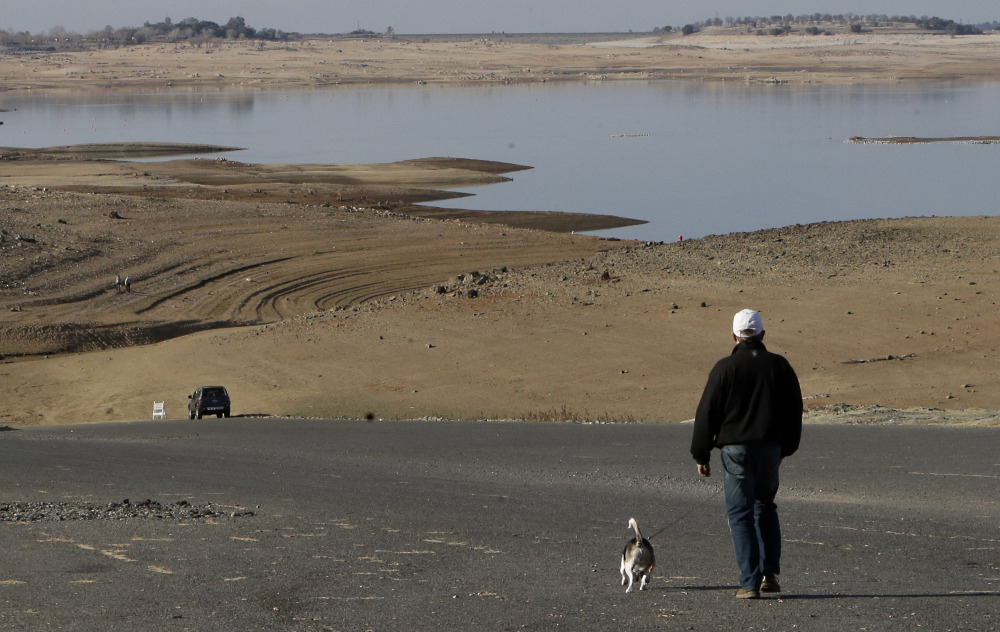 A visitor to Folsom Lake, Calif., walks his dog down a boat ramp that is several hundred yards away from the waters' edge. on Jan. 9. The worst dry spell in perhaps a century doesn't bode well for the state's notorious wildfire season.