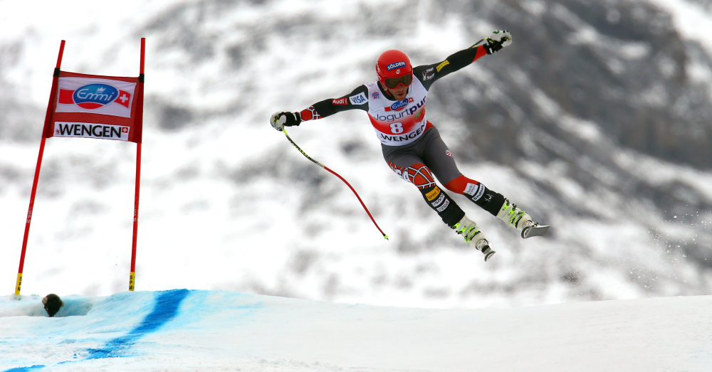 Bode Miller soars during his fifth-place run in a World Cup downhill event in Wengen, Switzerland, on Saturday.