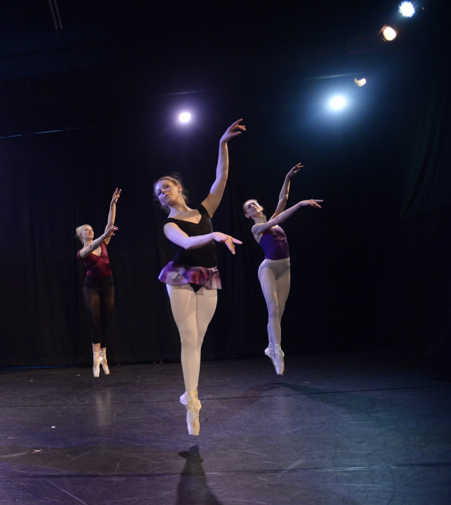 The Portland Ballet troupe rehearses in its new 73-seat theater in what used to be office space in an adjacent building on Forest Avenue.